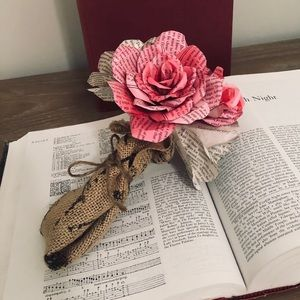 Book Lover's Bouquet Of Roses From Pages